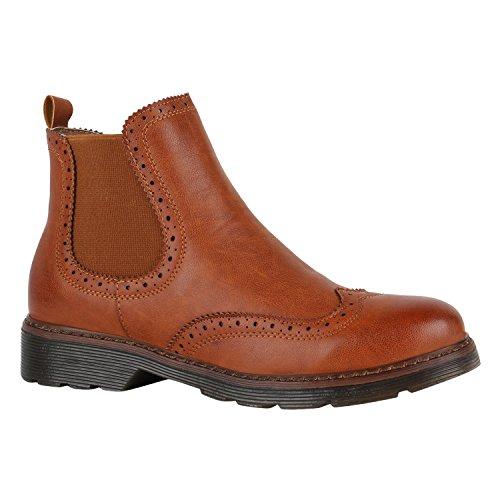Damen Stiefeletten Chelsea Boots London Style Schuhe 149707 Hellbraun Brito 39 | (London Kostüme)