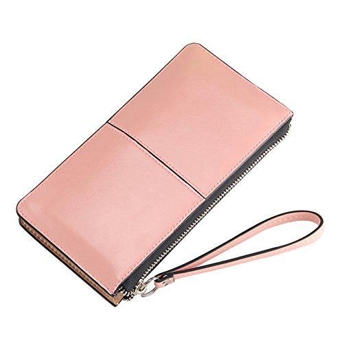 Signora di Alta Qualità Portafogli in Finta Pelle Borsa Cerniera Portafoglio Lungo Pink
