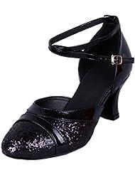 Honeystore Femme Chaussures de Danse Paillettes Bout Rond Latin