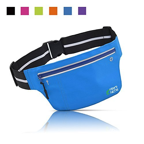Konstruktion Nische Ultraslim Running Gürtel Fitness Outdoor Sport Taille Fanny Packungen, wasserabweisend Reflektierende Verstellbarer Bund, Passform Smartphone iPhone 7 6S Plus Samsung, Radfahren, Wandern, Walking, Rb022, blau - fluorescent blue (Otterbox Htc One S)