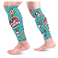 Emoji Cartoon Dog Emoticons Calf Compression Sleeves Shin Splint Support Leg Protectors Calf Pain Relief for Running, Cycling, Travel, Sports for Men Women (1 Pair)