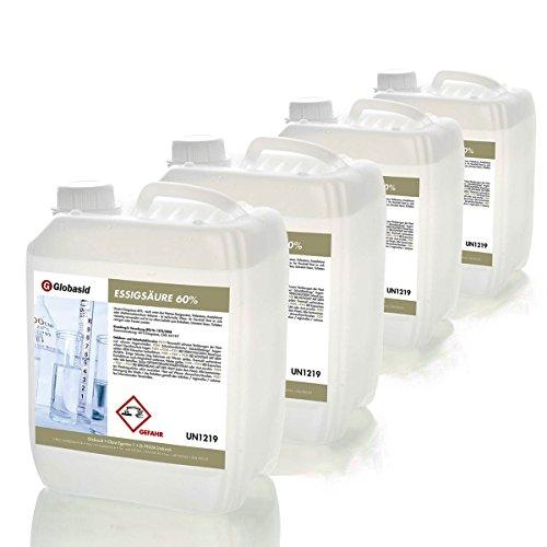 4 x 5 Liter Essigsäure 60%, Versandkostenfrei, Haushalts-Reiniger im 5 L Kanister