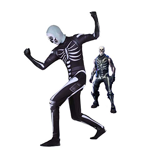 Skull Kid Kostüm - Kind Erwachsener Skull Trooper Kostüm Cosplay Superhelden Halloween Onesies Mottoparty Karneval 3D Druck Spandex Strumpfhosen,Child-M