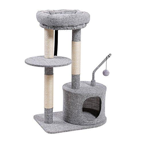 Feandrea tiragraffi per gatti con pali rivestiti di sisal da graffiare, cuccia imbottita e trespolo, mobile per gatto, superficie di feltro, superficie di linenette, grigio chiaro pct62w