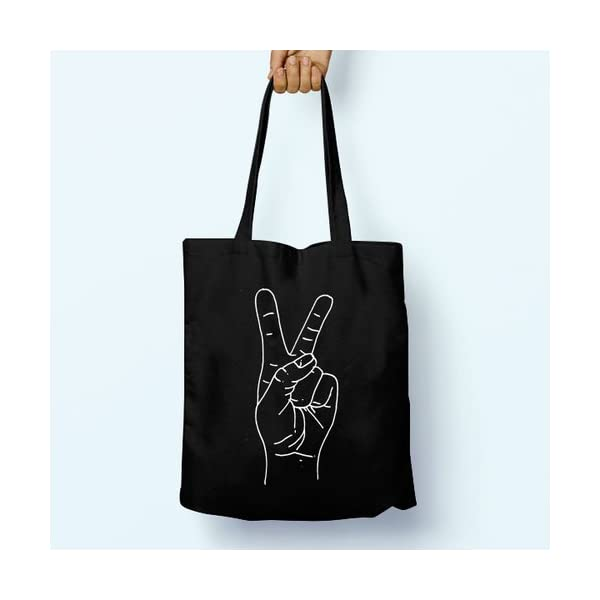 Peace Illustrated, Shoulder, Tote, Long Handles, Graphic, Cute, Tumblr, Hipster, Beach, Gym, Festival, School, Bag - handmade-bags