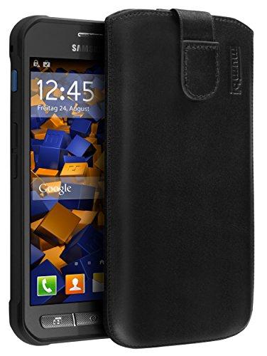 mumbi ECHT Ledertasche für Samsung Galaxy Xcover 3 Tasche Leder Etui (Lasche mit Rückzugfunktion Ausziehhilfe)