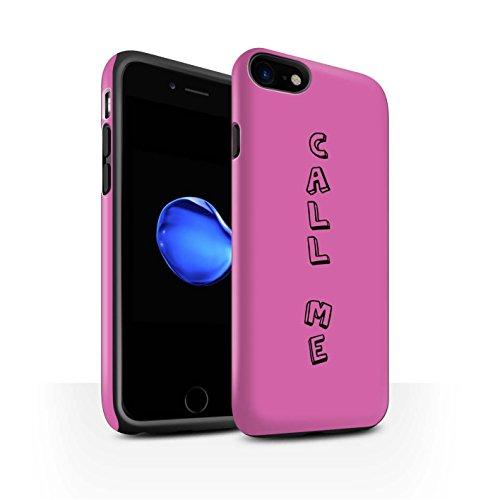 STUFF4 Matte Harten Stoßfest Hülle / Case für Apple iPhone 8 / Blau/Chic Muster / Gekritzel Wörter Kollektion Rosa/Ruf Mich An