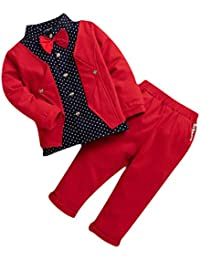 Hopscotch Boys Cotton Blazer Style Shirt and Pant Set in Red Colour