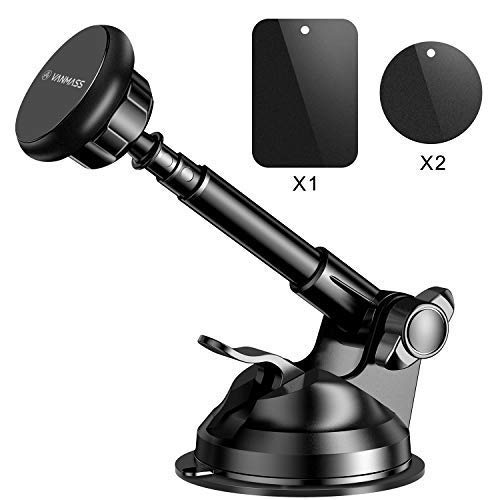 VANMASS Magnetic Phone Car Mount, Universal Phone Holder for Car Dashboard and Windshield, 360Ã'° Rotation with 6 Strong Magnets and Metal Telescopic Arm, Compatible with Universal Cell Phone