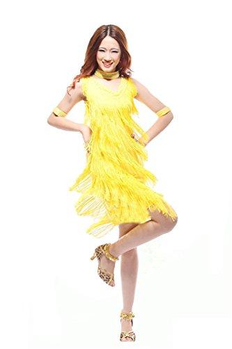 Honeystore 2017 Neuheiten Damen Ärmellos Quasten Swing Rhythmus Latin Dance Kleid