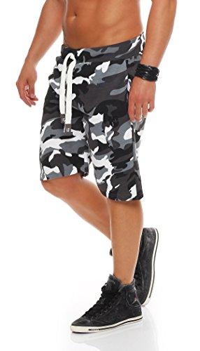 Gennadi Hoppe Herren Cotton Sweat Short Kurze Hose Bermuda Sweatpant (XL, camo schwarz/weiß)