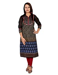 Bela Printed Black Kurti For Women (EC-10)