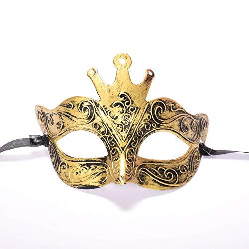 LBAFS Halloween Maske Antike Römische Männliche Antike Krone Half Face Geschnitzt Bronze Maske Für Maskerade Party