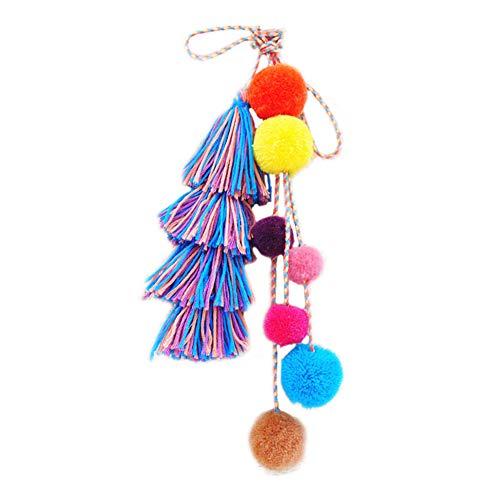 DZH Enjoy Bunte böhmische handgemachte Quaste Tasche Charme für Frauen, geschichteten Quaste mit String Pom Poms Schlüsselbund Handtasche Dekor Anhänger
