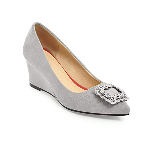 Nubuck Casual Clogs (Adong Frauen Casual Shoes Shallow Mouth Sequin Square Buckle Pointed Toe Nubuck Leder Hand für Termin und Gehen Sie zur Arbeit,Gray,34EU)
