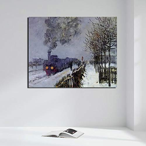 tzxdbh Claude Monet Zug Im Schnee Poster Vintage Leinwand Malerei Drucken Wohnzimmer Wohnkultur Moderne Wandkunst Ölgemälde Bilder