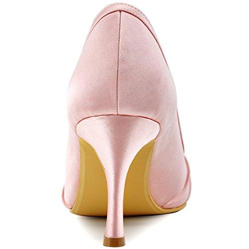 Elegantpark EP2094 Bout Ouvert Crinklinge Satin Pompes Moyen Talon Femmes Soiree Chaussures de Mariee AF01 pink