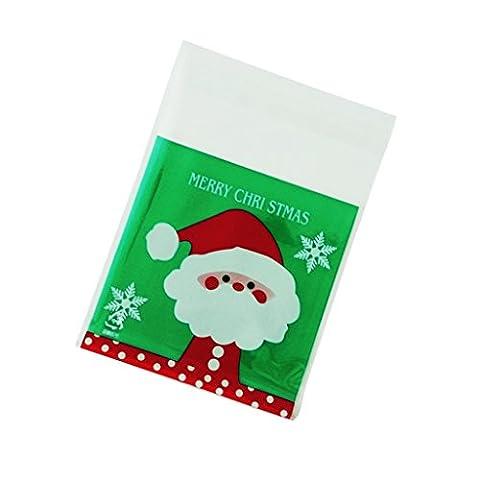 MagiDeal Lot de 100pcs Sachet Cellophane de Père Noël à Cookie Sucrerie Biscuit