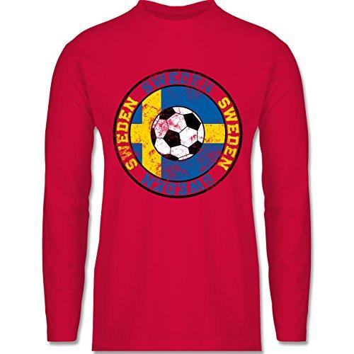EM 2016 - Frankreich - Sweden Kreis & Fußball Vintage - Longsleeve / langärmeliges T-Shirt für Herren Rot