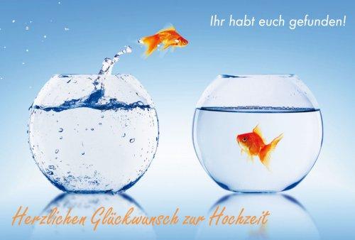 Hochzeitkarte Glückwunschkarte Zur Hochzeit Zwei Fische im Glas