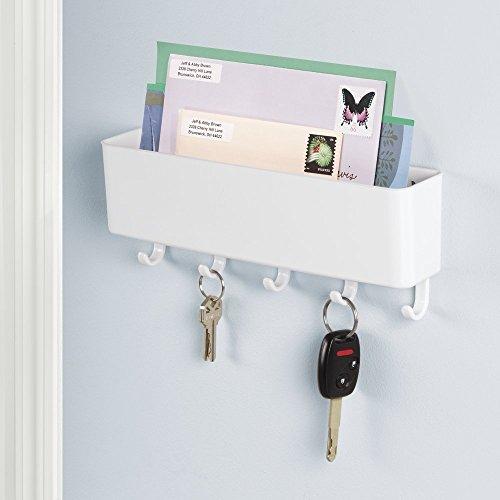 mDesign Briefablage und Schlüsselleiste - für ordentliche Aufbewahrung von Schlüssel, Briefe, Prospekte ? Organizer Eingangsbereich, Schlüsselbrett mit Ablage ? Farbe: Weiß