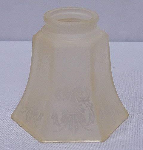G1034: Art Deko Lampenschirm, 6- Eckig Glasschirm, Lampen Glas floral geätzt