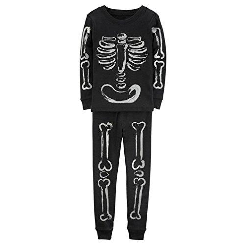 Kinder Baby Mädchen Jungen Knochen Tkelette Tops Hemd Hose 2PCS Outfits Set Kleider Hirolan Glücklich Halloween Mode Anzüge (120cm, Schwarz) (Halloween Kostüme 3t Boy)