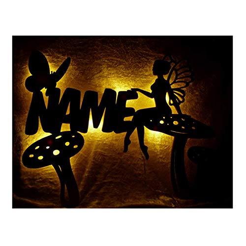 Schlummerlicht24 Led Nachtlicht Fee Mushroom Pilz Lampe mit Name für das Kinderzimmer oder das Babyzimmer, als Taufgeschenk oder Geburtstagsgeschenk