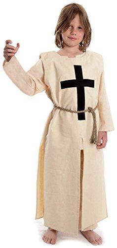 HEMAD Kinder- Mittelalter Waffenrock - Baumwolle Leinenoptik - Mittelalterliche Kleidung (one size, beige - schwarzes Kreuz) (Templer Kleidung)