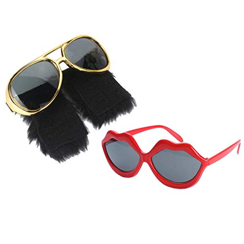 chiwanji 2/Set Funny Party Sunglasses Red Lips & 70s Disco Beard Shape Costume - Red Beard Kostüm