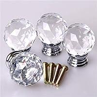 Delicacydex 4X Rosa de Cristal Acryl Puerta de Cristal Cajón de Muebles Muebles Manijas Perillas + Tornillos - Transparente
