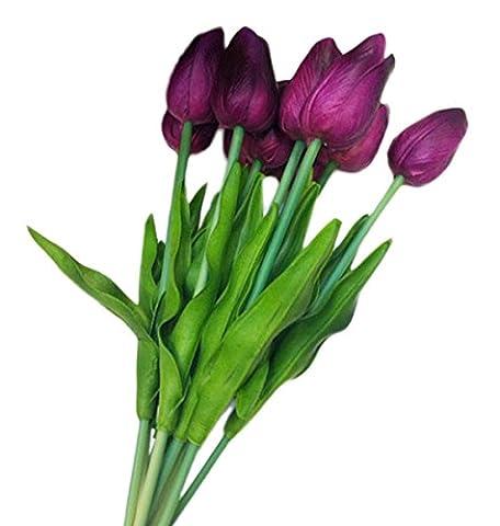 VLUNT 10pcs Artificial Flower Real Touch Silk Gluing PU Silk Artificial Tulip Flowers for Wedding Bouquet Home