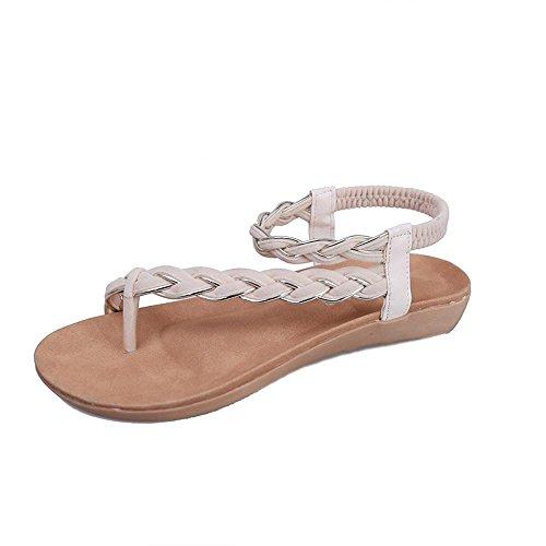 Kaiki Frauen flache Geflochtene Schuhe Bandage Bohemia Freizeit Strand Sandalen Peep-Toe Outdoor Shoes Beige
