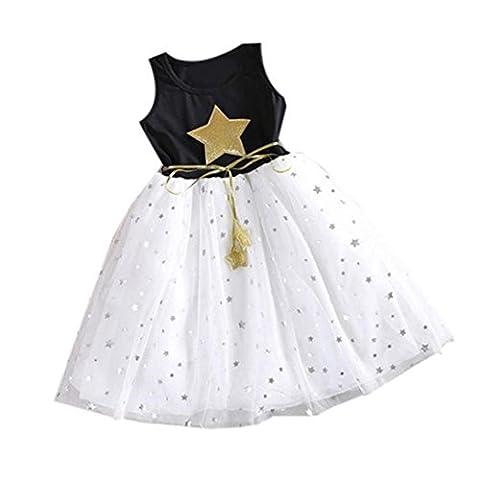Bekleidung Longra Neue Blume Baby Kinder Mädchen Prinzessin Kleid Star Drucken Party Pageant Tüll Tutu Brautkleider Sommer Kleid für Kinder Mädchen (1-11Jahre) (150CM 10-11Jahre,