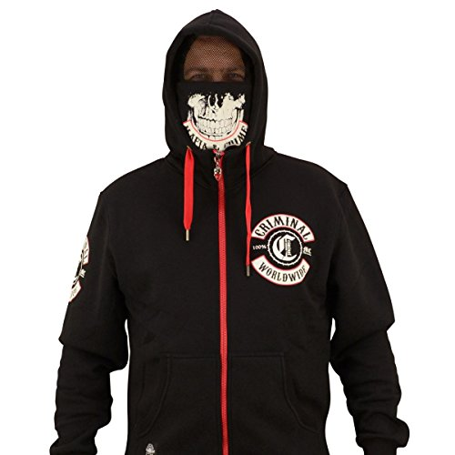 Mafia & Crime Herren Kapuzensweater Maske 448 Schwarz