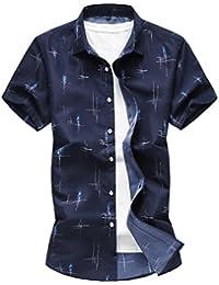 Zhiyuanan Camicia da Uomo Stampata Semplice Taglia Larga