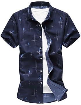 Zhiyuanan Camicie da Uomo di Grandi Dimensioni Camicetta Stampate A Manica Corta Casual Baggy Shirt Tops