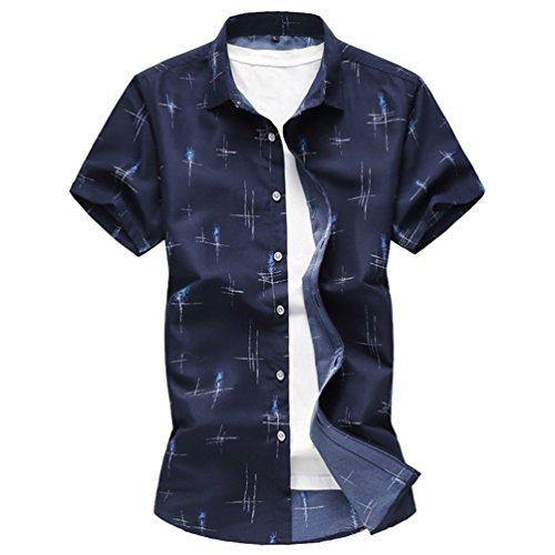Zhiyuanan Hommes À Manches Courtes Chemise Imprimée Chemises Tops D