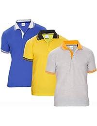 Baremoda Men's Polo T Shirt Grey Yellow Blue Combo Pack Of 3