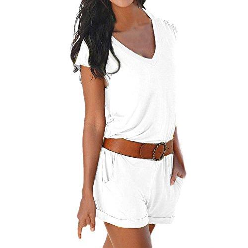SUNNOW® Elegant Damen Jumpsuit Playsuit V-Ausschnitt elastisch Hohe Taillen Casual Ärmellos Overall Strand Hose Sommer (EU 38, Weiß)