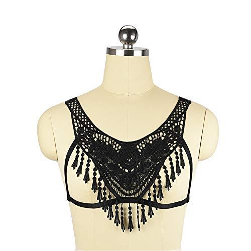 Biancheria Sexy delle Donne Bra Harness personalità Pizzo Crop Top Tassel Bralette Gothic Lingerie Women Harness Bra (Color : Black, Size : Free Size)