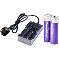 Canwelum Protected 3.7V 18650 Lithium Ion Battery and Charger, Rechargeable 18650 Li-ion Battery - Applicable for LED Torches, Head Torches, Not for E-cig (2 x Batteries & 1 x Charger) - CE Certified
