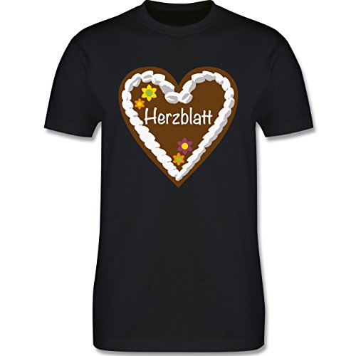Oktoberfest Herren - Lebkuchenherz Herzblatt - S - Schwarz - L190 - Herren T-Shirt Rundhals
