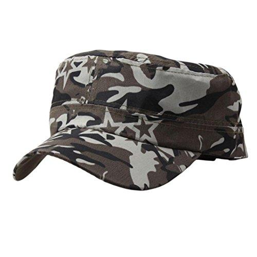 Imagen de lmmvp  de béisbol de malla deportiva,al aire libre camuflaje táctico llano vintage militar cadete estilo  sombrero ajustable b
