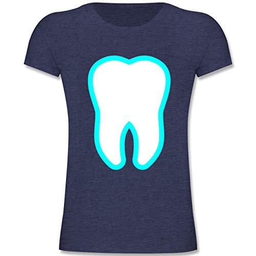 Karneval & Fasching Kinder - Farbiger Zahn - Zahnfee Kostüm - 152 (12-13 Jahre) - Dunkelblau Meliert - F131K - Mädchen Kinder T-Shirt