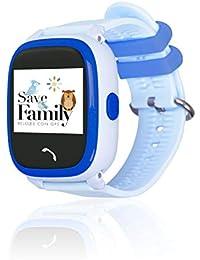 Reloj con GPS para niños SaveFamily Modelo Completo, smartwatch con Boton SOS, Permite Llamadas y Mensajes. Resistente al Agua Ip67. App Propia SaveFamily. Incluye Cargador (Azul)