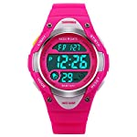 Skmei Kids Pink LED Backlight Stainless Steel Case Waterproof Digital Sports Casual Watch for Boys and Girls