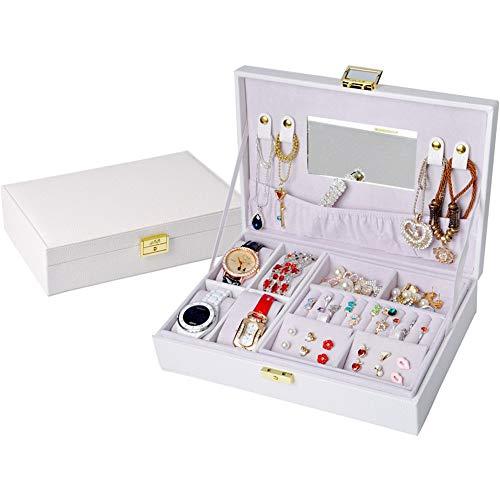Delicato pratico portagioie custodia per espositore da esposizione a doppio strato di gioielli da viaggio in ecopelle per collana di orecchini ad anelli con specchio custodia da regalo per organizer p