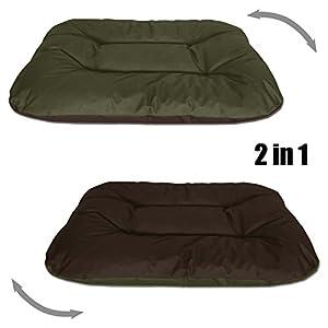 BedDog 2in1 Hundebett REX, XL, grün-braun, Wende-Hunde-Kissen oval-rund, großes Hundekörbchen, waschbares Hundebett, Hundesofa für drinnen, draußen