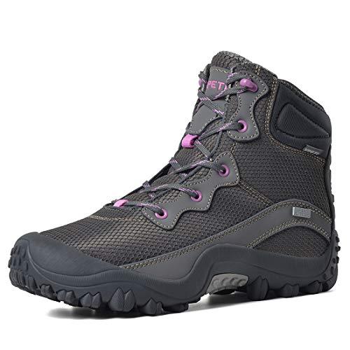 XPETI Dimo wasserdichte Wanderschuhe Damen,Atmungsaktiv Trekkingschuhe Frauen rutschfeste Hikingschuhe Bergschuhe Outdoor Sports Wandern,Grau EU 40